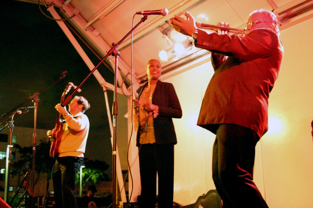 Arturo Sandoval trumpet blaring at Jazz at MOCA